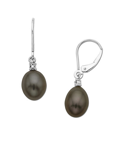 LORD & TAYLOR Black Pearl Drop Earrings with Diamond Accent in 14 Kt. Yellow Gold, .01 ct. t.w. 10/8 MM