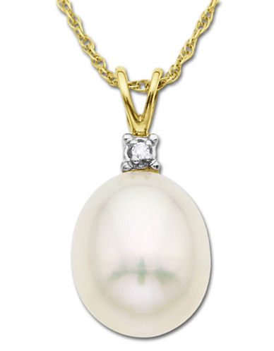 LORD & TAYLORFreshwater Pearl Pendant with Diamond Accent in 14 Kt. Yellow Gold 8 MM