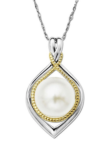 LORD & TAYLOR Pearl Pendant in Sterling Silver with 14 Kt. Yellow Gold Accents 10 MM