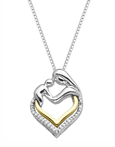 LORD & TAYLOR Sterling Silver and 14K Yellow Gold Heart Pendant with Diamonds