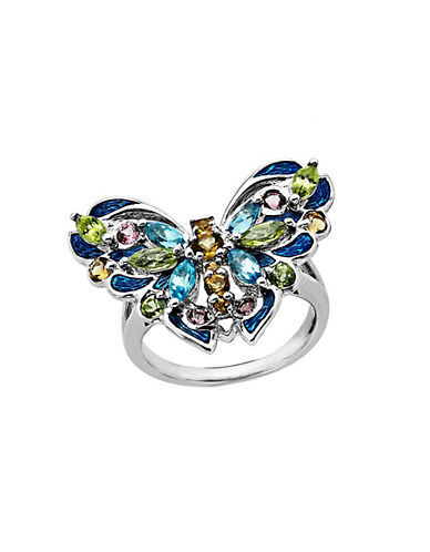 LORD & TAYLOR Multi-Stone Butterfly Ring in Sterling Silver