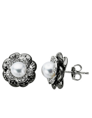LORD & TAYLOR Pearl and Diamond-Accented Earrings in Sterling Silver