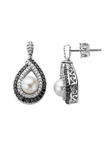 LORD & TAYLOR Pearl and Diamond Accented Earrings in Sterling Silver .63ct. t.w.