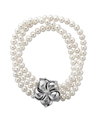 LORD & TAYLOR Pearl and Diamond-Accented Bracelet with Sterling Silver