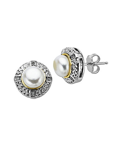 LORD & TAYLOR Pearl Earrings with Diamonds in Sterling Silver with 14 Kt. Yellow Gold, 0.02 ct. t.w, 7 MM