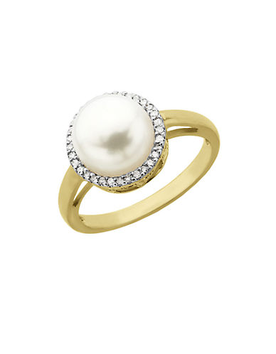 LORD & TAYLOR Pearl and Diamond Ring in 14 Kt. Yellow Gold 0.09 ct. t.w. 9MM