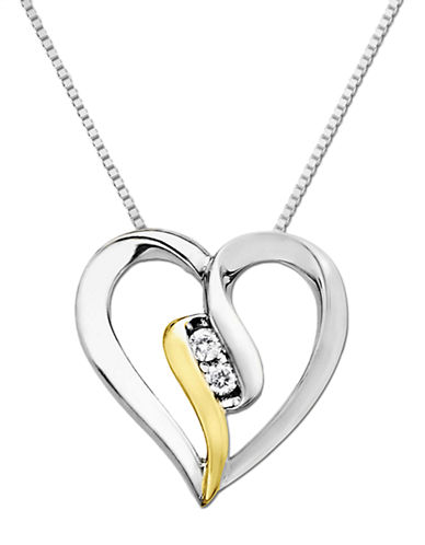 LORD & TAYLOR Open Heart Pendant in Sterling Silver with 14 Kt. Yellow Gold and Diamond