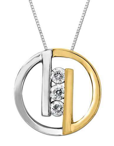 LORD & TAYLORGeometric Pendant in Sterling Silver with 14 Kt. Yellow Gold and Diamond