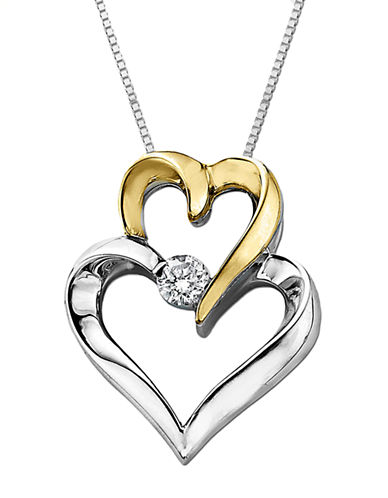 LORD & TAYLOR Double Heart Pendant in Sterling Silver with 14 Kt. Yellow Gold and Diamond