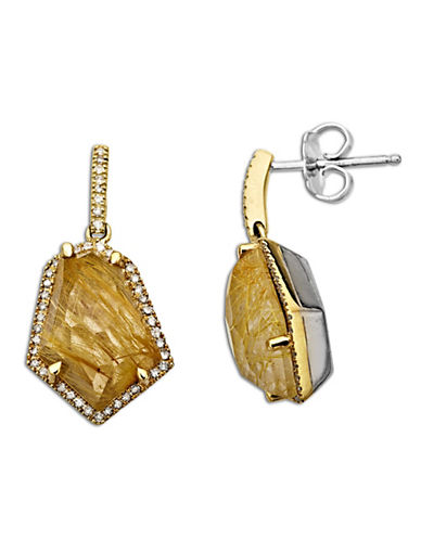 LORD & TAYLOR Rutilated Quartz and Diamond Accented Earring in Sterling Silver with 14 Kt. Yellow Gold