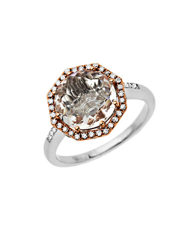 LORD & TAYLORWhite Quartz and Diamond Ring in Sterling Silver with 14 Kt. Rose Gold
