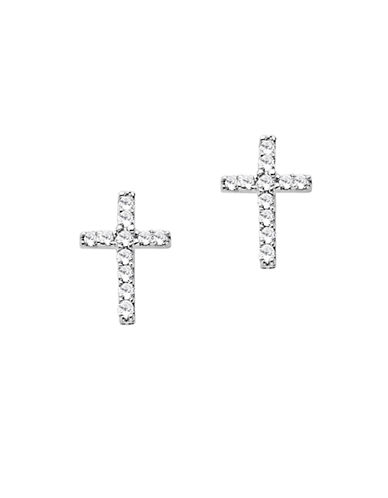 LORD & TAYLOR Diamond Accented Cross Earrings in 14 Kt White Gold