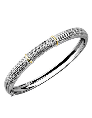 LORD & TAYLOR Diamond Accented Bangle in Sterling Silver with 14 Kt. Yellow Gold