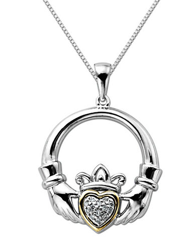 LORD & TAYLOR Diamond-Accented Claddagh Pendant in Sterling Silver with 14 Kt. Yellow Gold