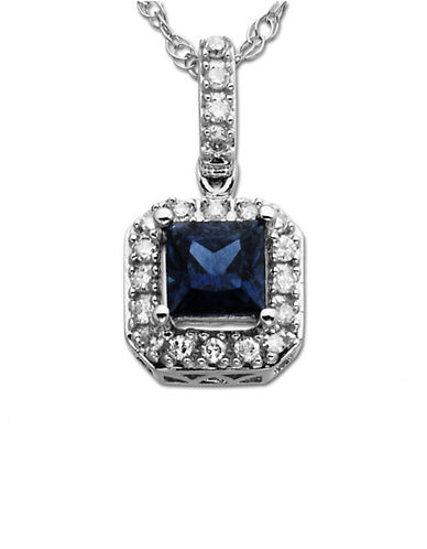 LORD & TAYLOR Sapphire and Diamond Accented Pendant in 14 Kt. White Gold
