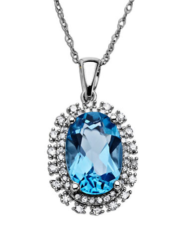 LORD & TAYLORBlue Topaz Necklace in 14 Kt. White Gold with Diamond Accents