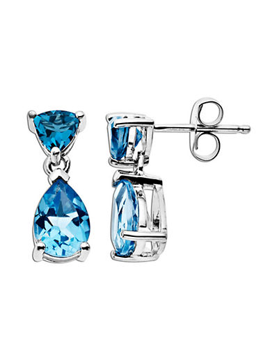 LORD & TAYLOR Blue Topaz Earrings in 14 Kt. White Gold