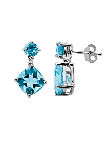 Blue Topaz and Diamond-Accented Earrings in 14 Kt. White Gold
