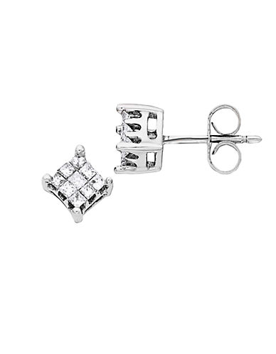LORD & TAYLOR 0.25 ct t w Princess Cut Diamond Stud Earrings in 14 Kt White Gold