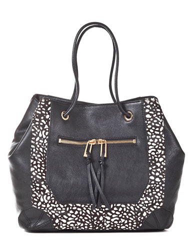 SANCTUARY Cafe Leather and Hair Calf Tote