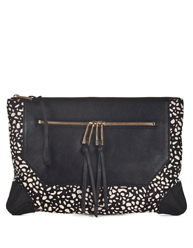 SANCTUARYLeather and Hair Calf Clutch