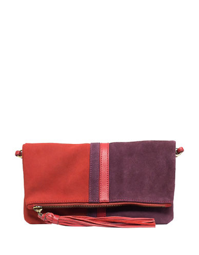 sanctuary female leather colorblock convertible clutch