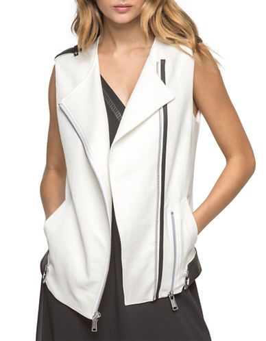 Andrew Marc Leather Trimmed Moto Vest