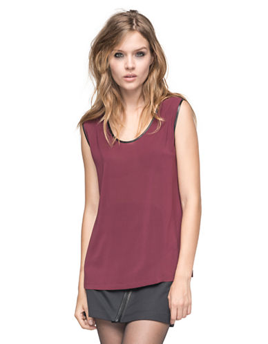 ANDREW MARCLeather Trim Silk Top