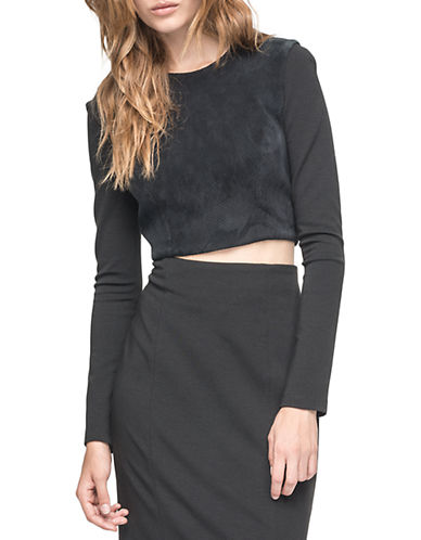 Andrew Marc Margot Leather and Knit Crop Top