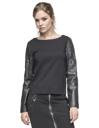 ANDREW MARCLeather Sleeve Top