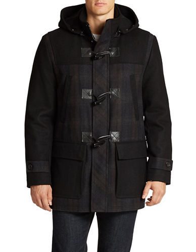 ANDREW MARC Wesley Plaid Toggle Coat