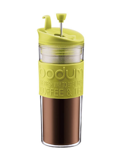 Double-Wall 15-Ounce Thermal Plastic Travel Coffee and Tea Press with Tumbler Lid