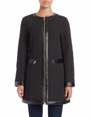 JONES NEW YORKFaux Leather-Trim Quilted Coat