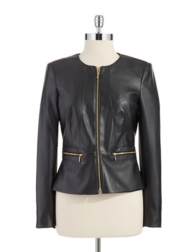 CALVIN KLEINPeplum Faux Leather Jacket