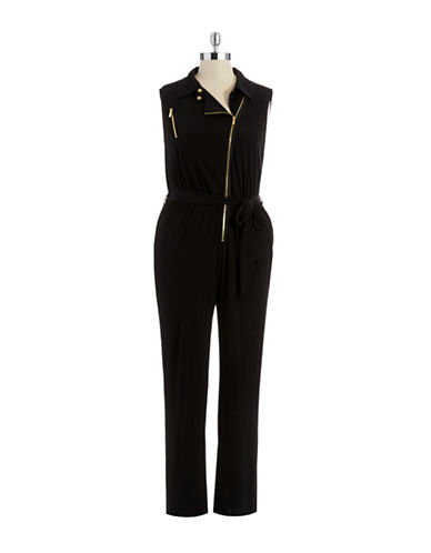 Calvin Klein Womens Plus Zip Front Jumpsuit