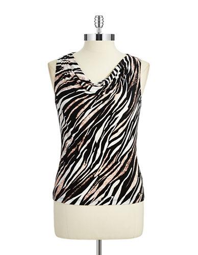CALVIN KLEINPetite Cowl Neck Zebra Top