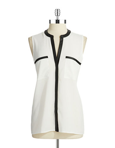 CALVIN KLEIN V-Neck Top with Faux Leather Detail