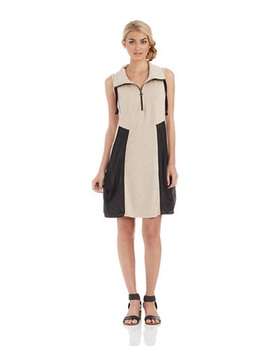 KENSIEShirt Dress with Mesh Accents