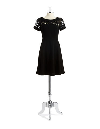 BETSEY JOHNSONFloral Lace Fit And Flare Dress