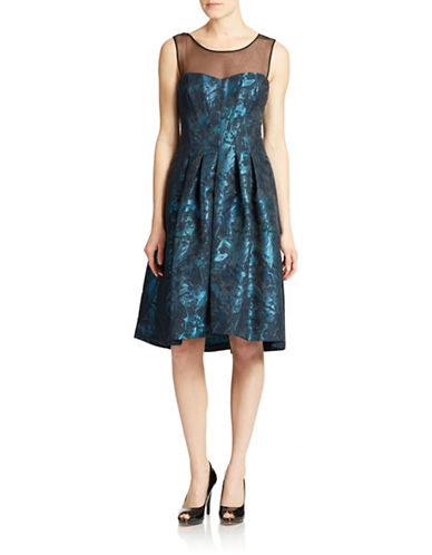 Shop Vera Wang online and buy Vera Wang Illusion Neck Fit and Flare Dress dress online