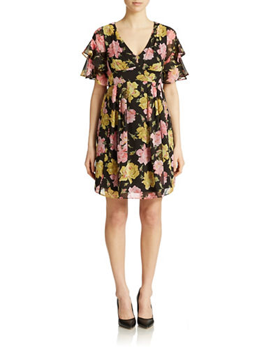 Shop Betsey Johnson online and buy Betsey Johnson Rose-Print Chiffon Fit and Flare Dress dress online
