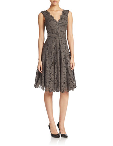 VERA WANG Lace V-Neck Fit-and-Flare Dress