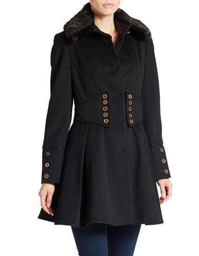 Betsey Johnson Faux Fur-Collared Button-Waist Coat