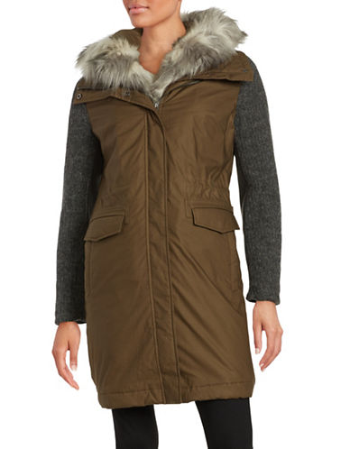 vera wang female 235344 brie singlebreasted anorak with faux fur trim and knit sleeves