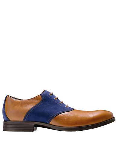 COLE HAAN Copley Leather and Suede Saddle Oxfords