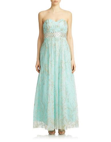 Beaded Waist Glitter Tulle Gown $205.50 AT vintagedancer.com