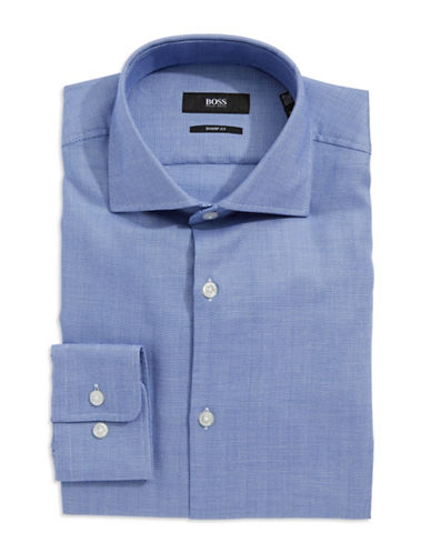 HUGO BOSS Sharp-Fit Herringbone Dress Shirt