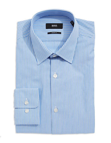 HUGO BOSS Sharp-Fit Striped Dress Shirt