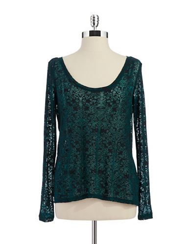 JESSICA SIMPSON Criss Crossed Open Back Burnout Tee