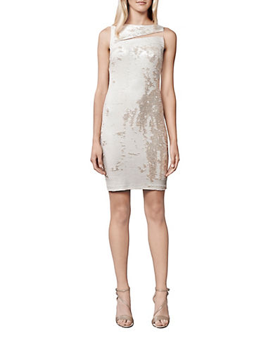 JULIA JORDANSequined Mesh Sheath Dress